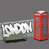 Hand drawing red english phone booth vector illustration