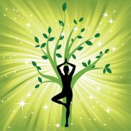 Woman in yoga tree asana sport on wave background