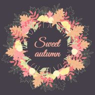 Autumn leaves wreath Colorful fall background