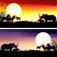 African Rhinos and zebras silhouettes safari set