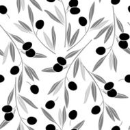 Seamless monochrome pattern with olive branches
