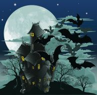 Haunted house and bats illustration