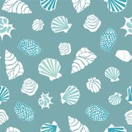 Seamless pattern with various shells