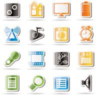 Mobile phone performance internet and office icons N4