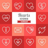 Set of flat outlined hearts icons N2