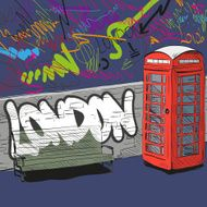 Hand drawing red english phone booth vector illustration N3