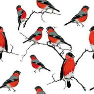 Bullfinches on the branch seamless vector pattern N3