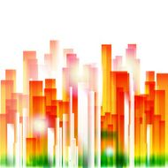 Rainbow city geometric background
