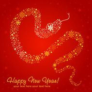 Stylized chinese New Year card of Snake made snowflakes N2