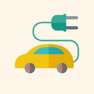 Electric Car Flat Icon N2