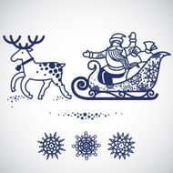 Jolly Santa Claus in sleigh with a sacks of gifts N2