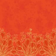 Floral pattern outline tulips