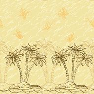Seamless pattern palm trees and butterflies contours
