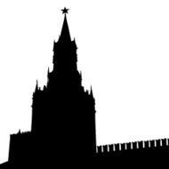 Moscow Russia Kremlin Spasskaya Tower with clock N2