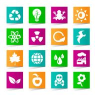 Set of Universal Ecology Icons on Square Colored Buttons N3