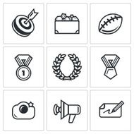 Fame and glory icons set Vector Illustration N2
