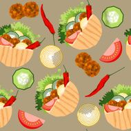 Falafel stuffed pita with vegetables Seamless background pattern