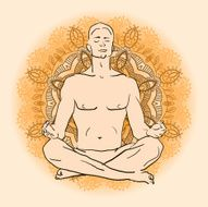 man sitting in the lotus position doing yoga meditation N4