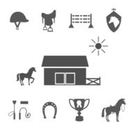 Grayscale Horse Icons on White Background N2