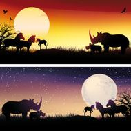 African Rhinos and zebras silhouettes safari illustrations set