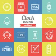 Set of flat outlined clock icons N2
