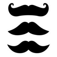 Retro black Mustache set isolated on white N2