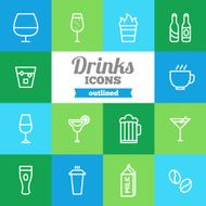 Set of flat outlined drinks icons N2