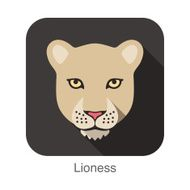 Lioness Cat breed face cartoon flat icon design