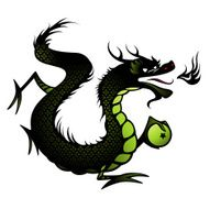 Silhouette of a Chinese dragon in black and green
