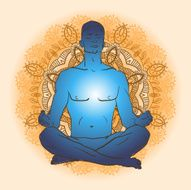 man sitting in the lotus position doing yoga meditation N6