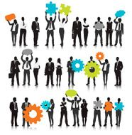Vector of Business People Holding Gear and Speech Bubble