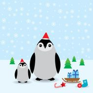 Funny penguins in the red hat christmas winter card vector