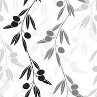 Seamless monochrome pattern with olive branches N2