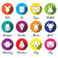 vector Chinese zodiac animal icons N2