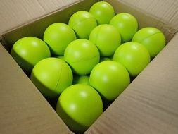 balls box green cardboard bright