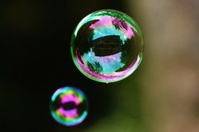 iridescent soap bubbles