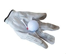 golf ball on leather glove
