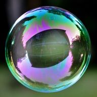 one big soap bubble with reflectionl