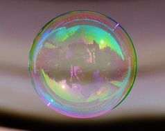 Translucent colorful soap bubble