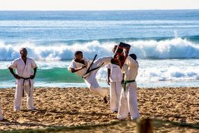 karate sport on beach