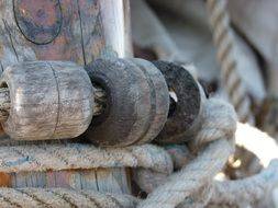 rigging of sailing vessel at mast