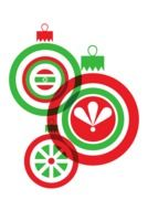 christmas red green white balls drawing