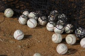 baseball balls after training