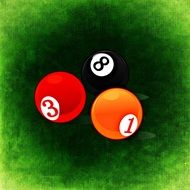 drawn three billiard balls