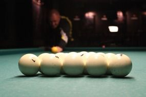 White balls on a pool table