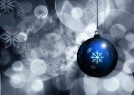 blue ball with christmas ornament