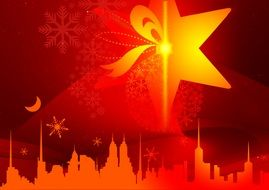 christmas star bright red silhouette