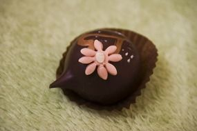 chocolate praline with patterns