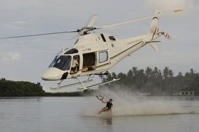 Water skiing with the helicopter