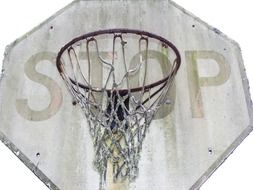 basketball ring with the word stop